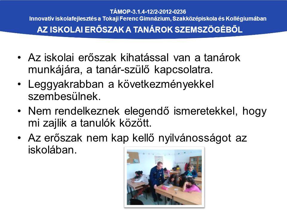 TÁMOP-3.1.4-12/2-2012-0236 Innovatív iskolafejlesztés a Tokaji Ferenc Gimnázium, Szakközépiskola és Kollégiumában AZ ISKOLAI ERŐSZAK A TANÁROK SZEMSZÖGÉBŐL Az iskolai erőszak kihatással van a tanárok munkájára, a tanár-szülő kapcsolatra.