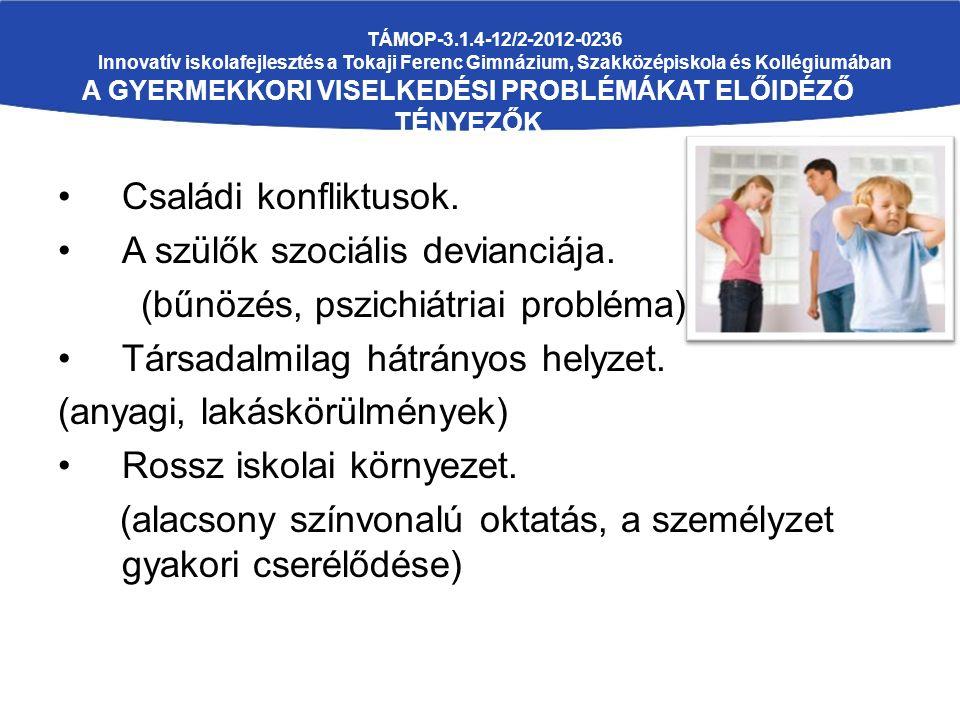 TÁMOP-3.1.4-12/2-2012-0236 Innovatív iskolafejlesztés a Tokaji Ferenc Gimnázium, Szakközépiskola és Kollégiumában A GYERMEKKORI VISELKEDÉSI PROBLÉMÁKAT ELŐIDÉZŐ TÉNYEZŐK (ANGOL KUTATÁS) Családi konfliktusok.