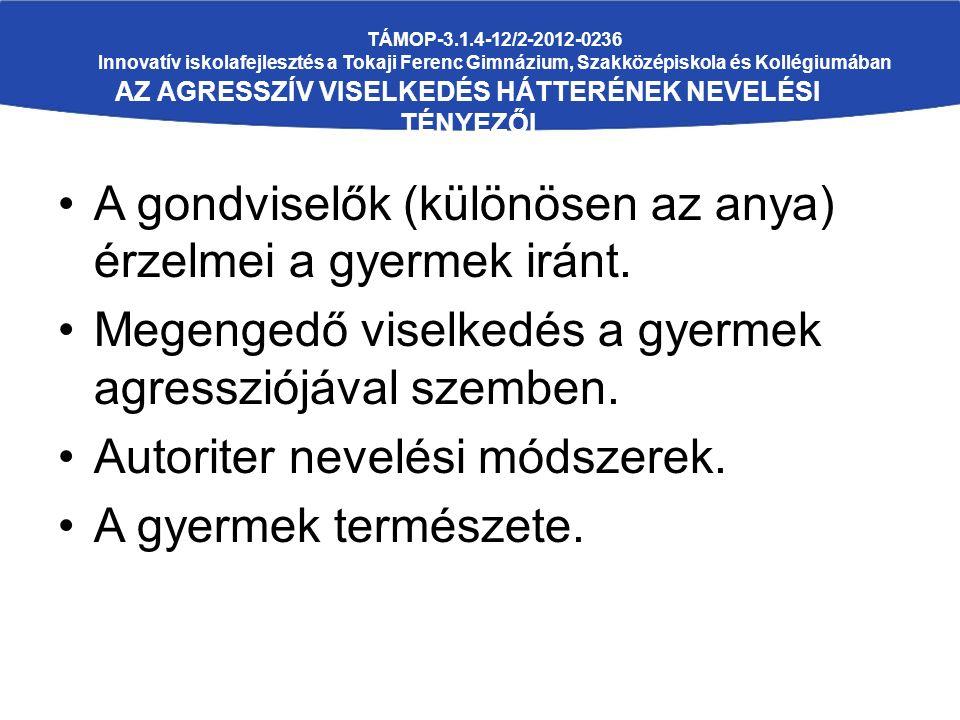 TÁMOP-3.1.4-12/2-2012-0236 Innovatív iskolafejlesztés a Tokaji Ferenc Gimnázium, Szakközépiskola és Kollégiumában AZ AGRESSZÍV VISELKEDÉS HÁTTERÉNEK N