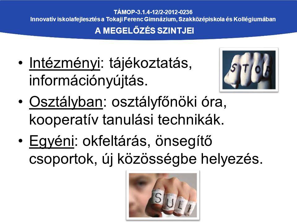 TÁMOP-3.1.4-12/2-2012-0236 Innovatív iskolafejlesztés a Tokaji Ferenc Gimnázium, Szakközépiskola és Kollégiumában A MEGELŐZÉS SZINTJEI Intézményi: tájékoztatás, információnyújtás.