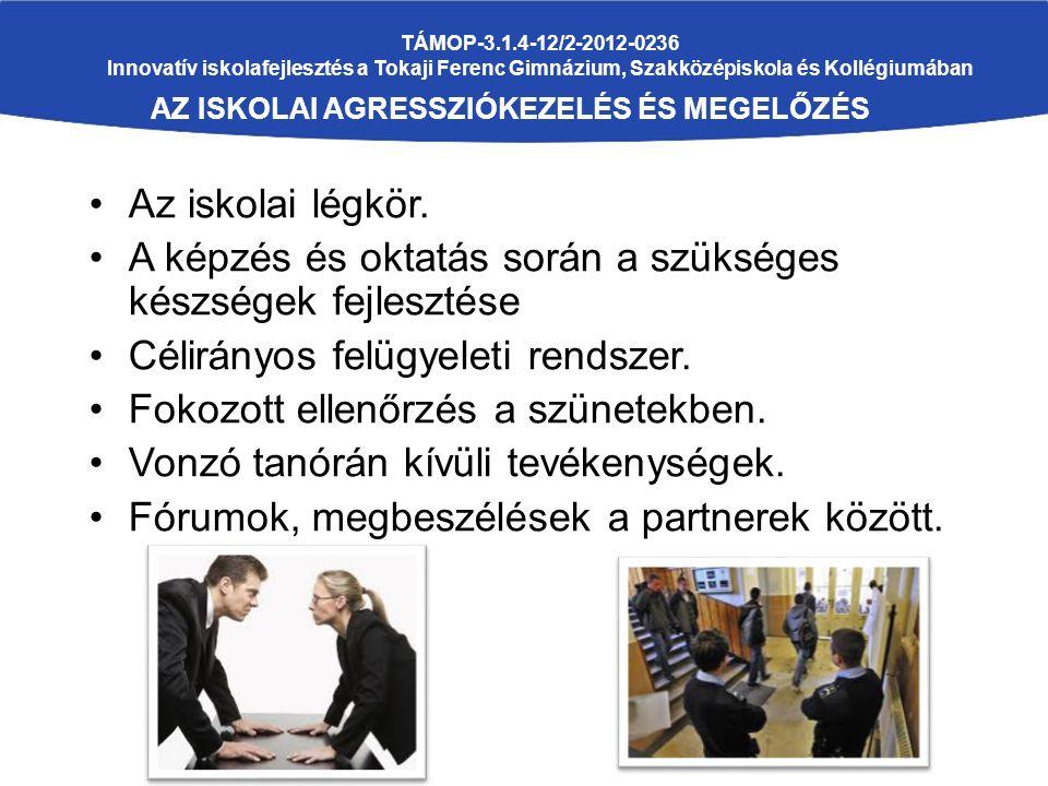 TÁMOP-3.1.4-12/2-2012-0236 Innovatív iskolafejlesztés a Tokaji Ferenc Gimnázium, Szakközépiskola és Kollégiumában AZ ISKOLAI AGRESSZIÓKEZELÉS ÉS MEGEL