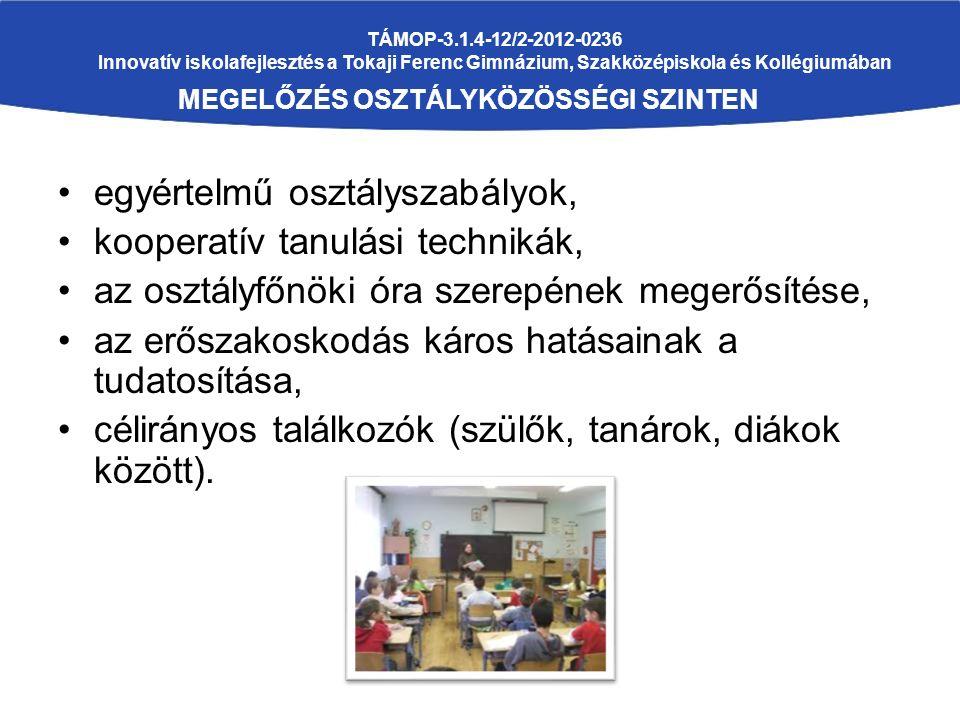 TÁMOP-3.1.4-12/2-2012-0236 Innovatív iskolafejlesztés a Tokaji Ferenc Gimnázium, Szakközépiskola és Kollégiumában MEGELŐZÉS OSZTÁLYKÖZÖSSÉGI SZINTEN egyértelmű osztályszabályok, kooperatív tanulási technikák, az osztályfőnöki óra szerepének megerősítése, az erőszakoskodás káros hatásainak a tudatosítása, célirányos találkozók (szülők, tanárok, diákok között).