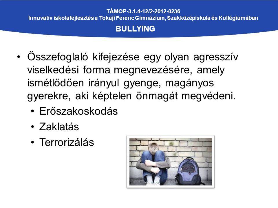 TÁMOP-3.1.4-12/2-2012-0236 Innovatív iskolafejlesztés a Tokaji Ferenc Gimnázium, Szakközépiskola és Kollégiumában BULLYING Összefoglaló kifejezése egy olyan agresszív viselkedési forma megnevezésére, amely ismétlődően irányul gyenge, magányos gyerekre, aki képtelen önmagát megvédeni.