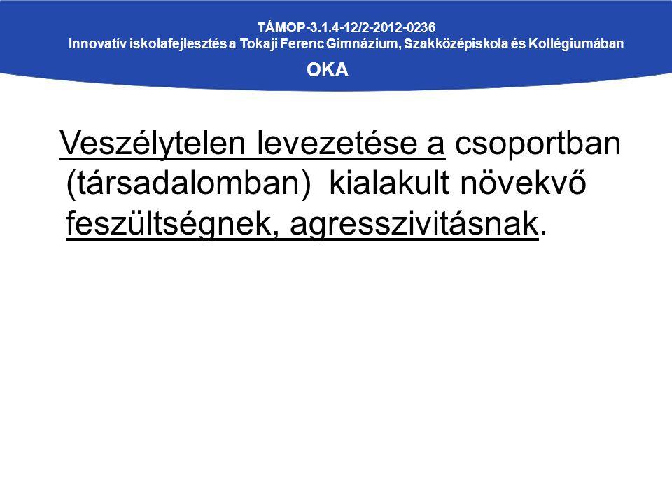 TÁMOP-3.1.4-12/2-2012-0236 Innovatív iskolafejlesztés a Tokaji Ferenc Gimnázium, Szakközépiskola és Kollégiumában OKA Veszélytelen levezetése a csoportban (társadalomban) kialakult növekvő feszültségnek, agresszivitásnak.