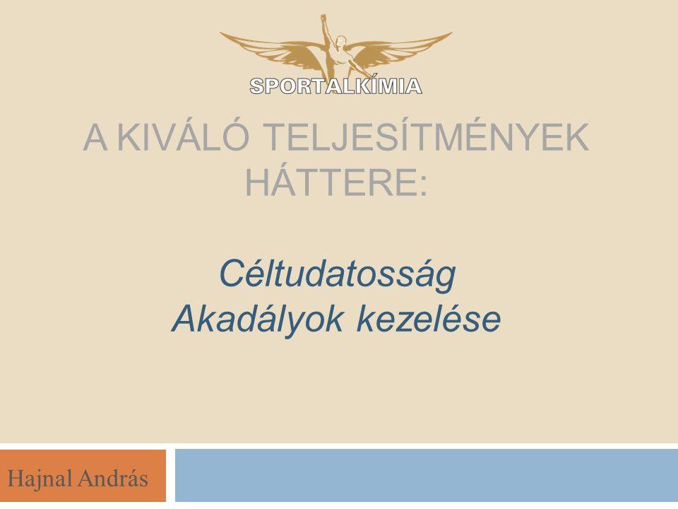 Hajnal András A KIVÁLÓ TELJESÍTMÉNYEK HÁTTERE: Céltudatosság Akadályok kezelése