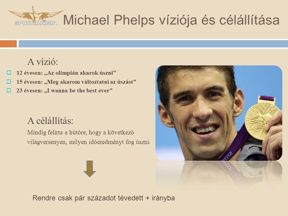"""Michael Phelps víziója és célállítása A vízió:  12 évesen: """"Az olimpián akarok úszni  15 évesen: """"Meg akarom változtatni az úszást  23 évesen: """"I wanna be the best ever A célállítás: Mindig felírta a hűtőre, hogy a következő világversenyen, milyen időeredményt fog úszni."""