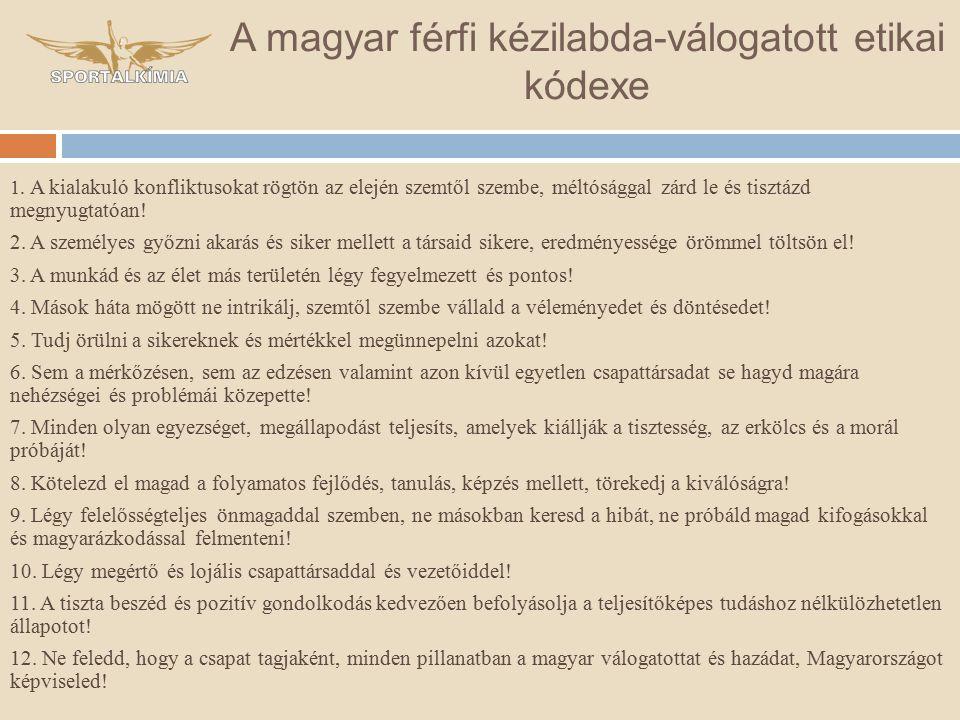 A magyar férfi kézilabda-válogatott etikai kódexe 1.