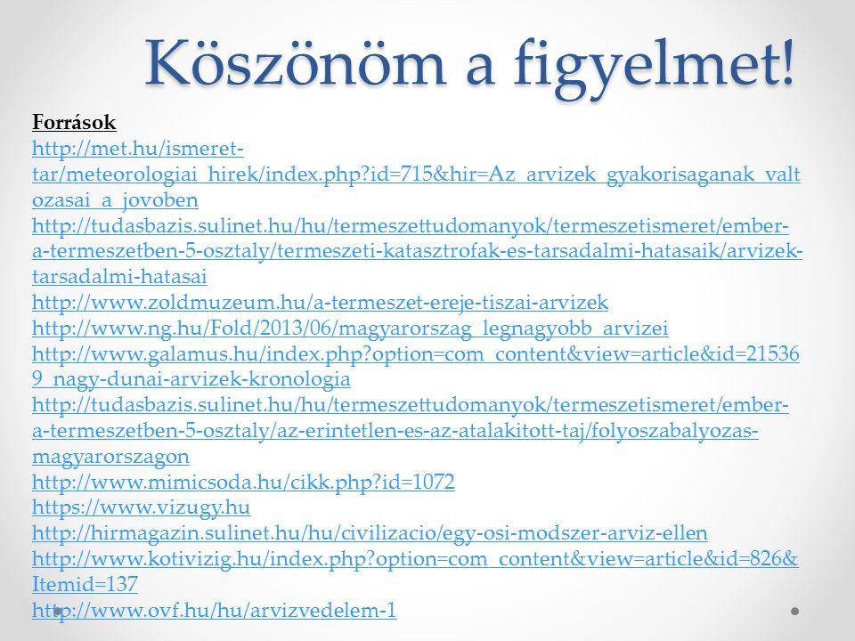 Köszönöm a figyelmet! Források http://met.hu/ismeret- tar/meteorologiai_hirek/index.php?id=715&hir=Az_arvizek_gyakorisaganak_valt ozasai_a_jovoben htt
