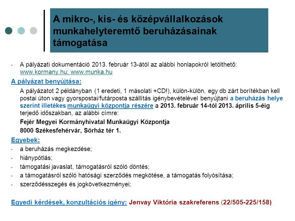 A pályázati dokumentáció 2013. február 13-ától az alábbi honlapokról letölthető: www.kormany.hu; www.munka.hu www.kormany.huwww.munka.hu A pályázat be