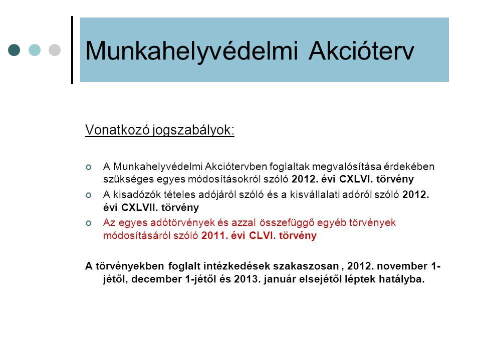 Munkahelyvédelmi Akcióterv Vonatkozó jogszabályok: A Munkahelyvédelmi Akciótervben foglaltak megvalósítása érdekében szükséges egyes módosításokról sz