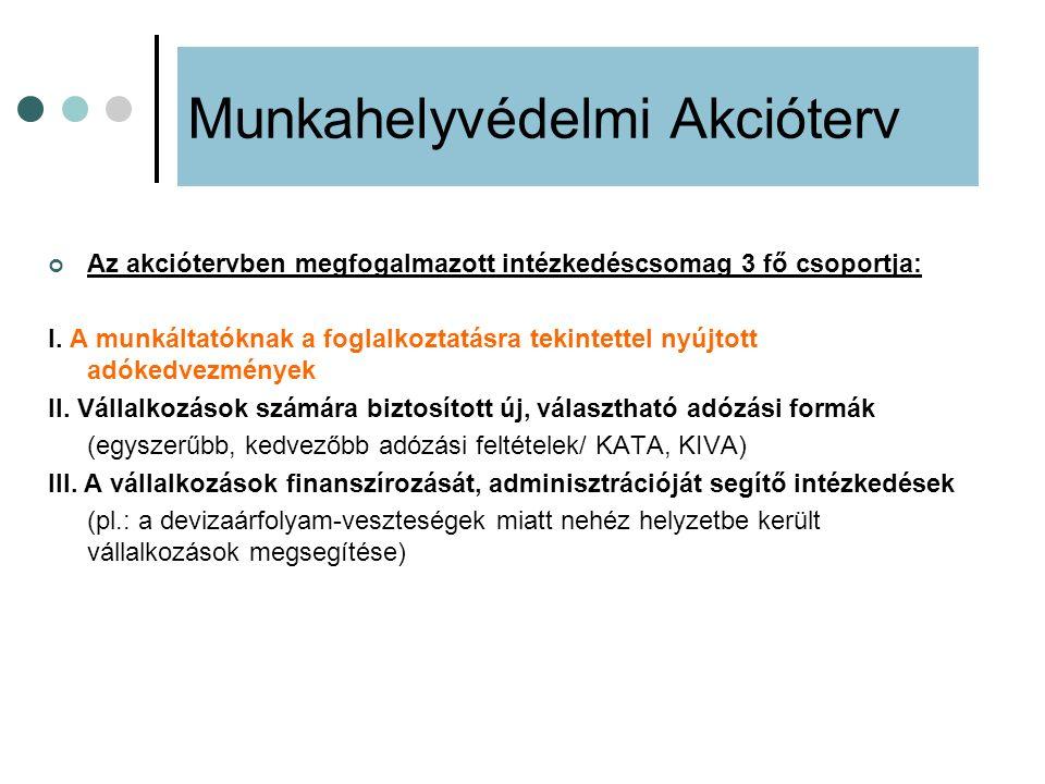 Az akciótervben megfogalmazott intézkedéscsomag 3 fő csoportja: I. A munkáltatóknak a foglalkoztatásra tekintettel nyújtott adókedvezmények II. Vállal