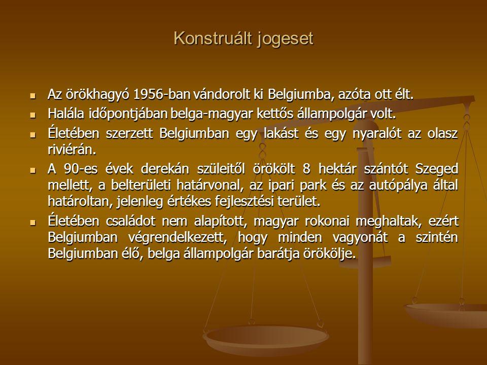 Konstruált jogeset Az örökhagyó 1956-ban vándorolt ki Belgiumba, azóta ott élt.