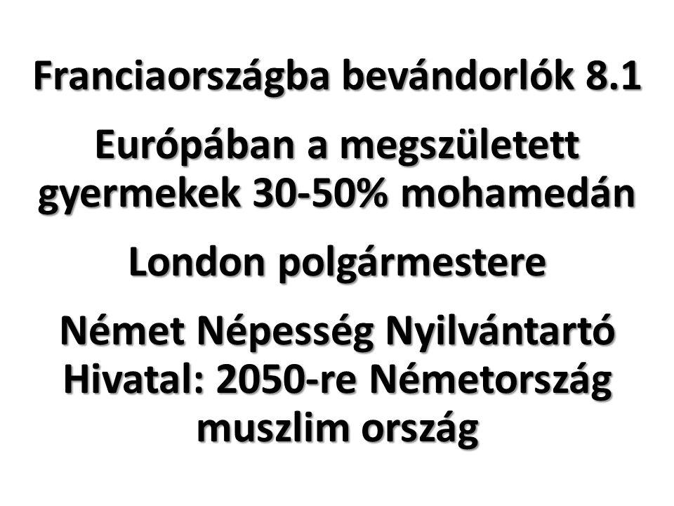 Franciaországba bevándorlók 8.1 Európában a megszületett gyermekek 30-50% mohamedán London polgármestere Német Népesség Nyilvántartó Hivatal: 2050-re Németország muszlim ország
