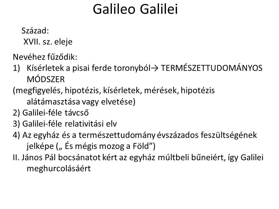 Galileo Galilei Század: XVII. sz.