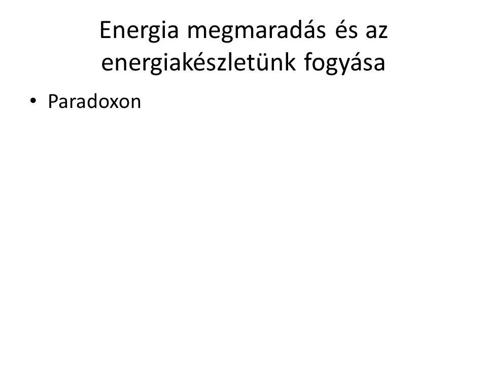 Energia megmaradás és az energiakészletünk fogyása Paradoxon
