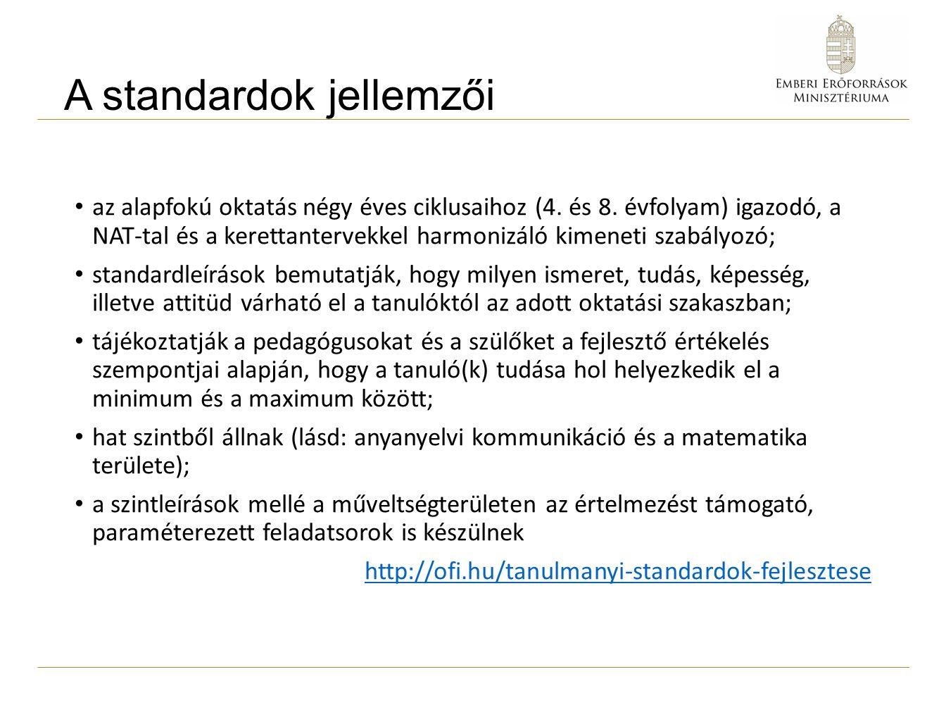 A standardok jellemzői az alapfokú oktatás négy éves ciklusaihoz (4.