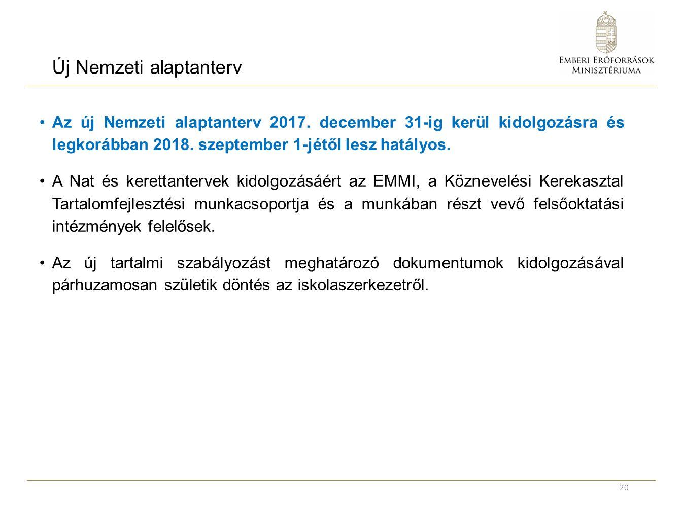 Új Nemzeti alaptanterv Az új Nemzeti alaptanterv 2017.