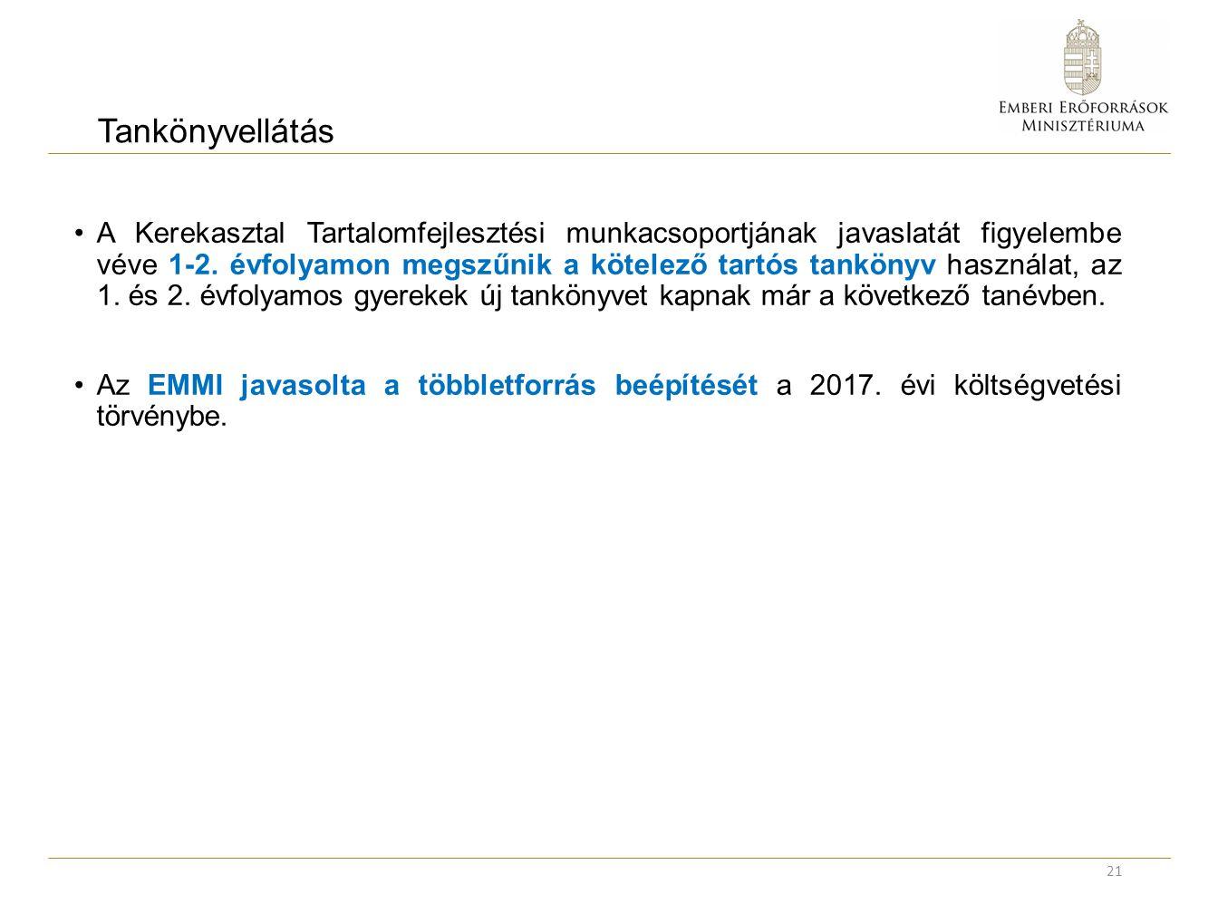 Tankönyvellátás A Kerekasztal Tartalomfejlesztési munkacsoportjának javaslatát figyelembe véve 1-2.