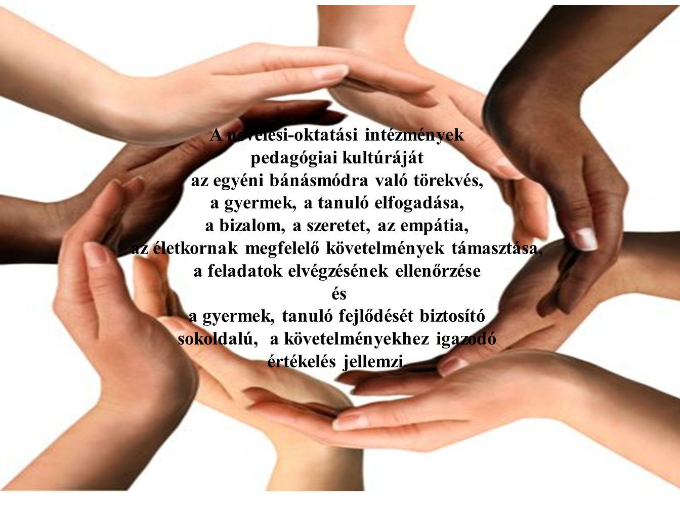 A nevelési-oktatási intézmények pedagógiai kultúráját az egyéni bánásmódra való törekvés, a gyermek, a tanuló elfogadása, a bizalom, a szeretet, az empátia, az életkornak megfelelő követelmények támasztása, a feladatok elvégzésének ellenőrzése és a gyermek, tanuló fejlődését biztosító sokoldalú, a követelményekhez igazodó értékelés jellemzi.