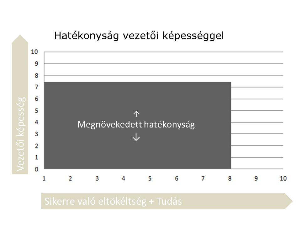 Hatékonyság vezetői képességgel ↑ Megnövekedett hatékonyság ↓ Sikerre való eltökéltség + Tudás Vezetői képesség