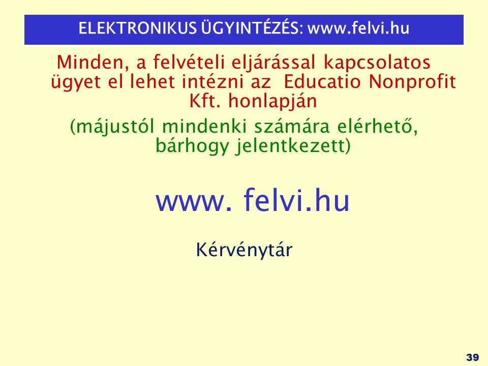 39 ELEKTRONIKUS ÜGYINTÉZÉS: www.felvi.hu Minden, a felvételi eljárással kapcsolatos ügyet el lehet intézni az Educatio Nonprofit Kft.