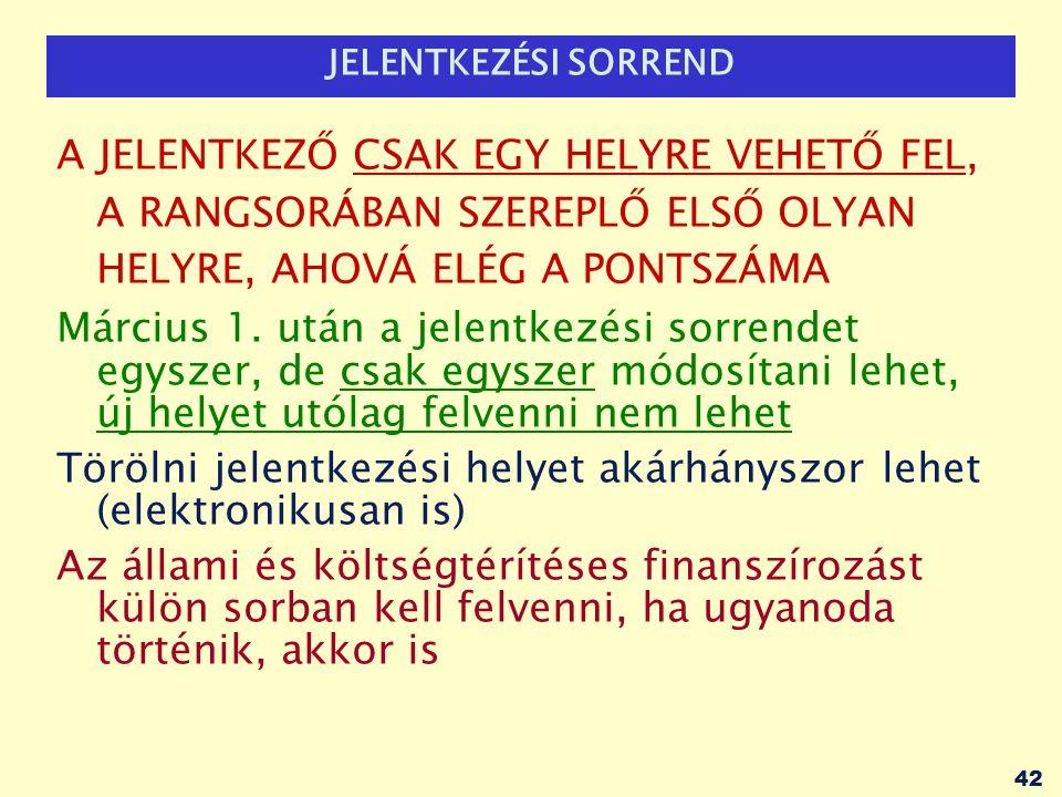 43 FELVÉTELI ELJÁRÁS, HATÁRIDŐK 2013.március 1.