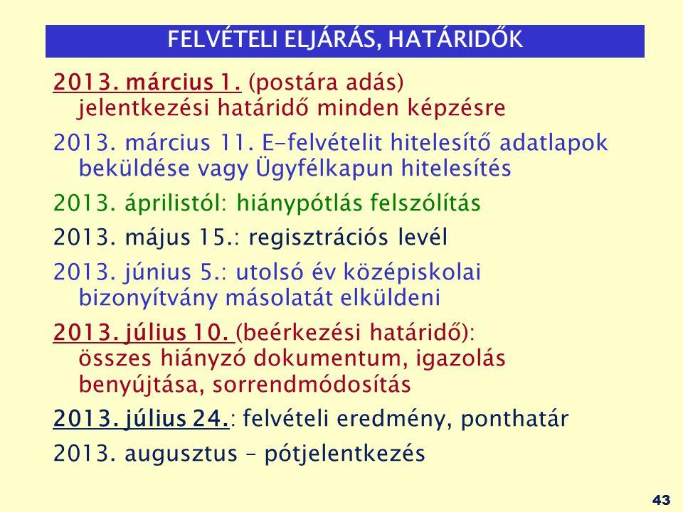 43 FELVÉTELI ELJÁRÁS, HATÁRIDŐK 2013. március 1.