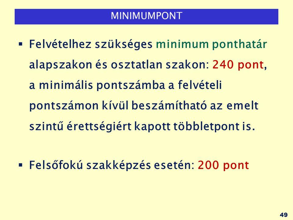 49 MINIMUMPONT  Felvételhez szükséges minimum ponthatár alapszakon és osztatlan szakon: 240 pont, a minimális pontszámba a felvételi pontszámon kívül beszámítható az emelt szintű érettségiért kapott többletpont is.