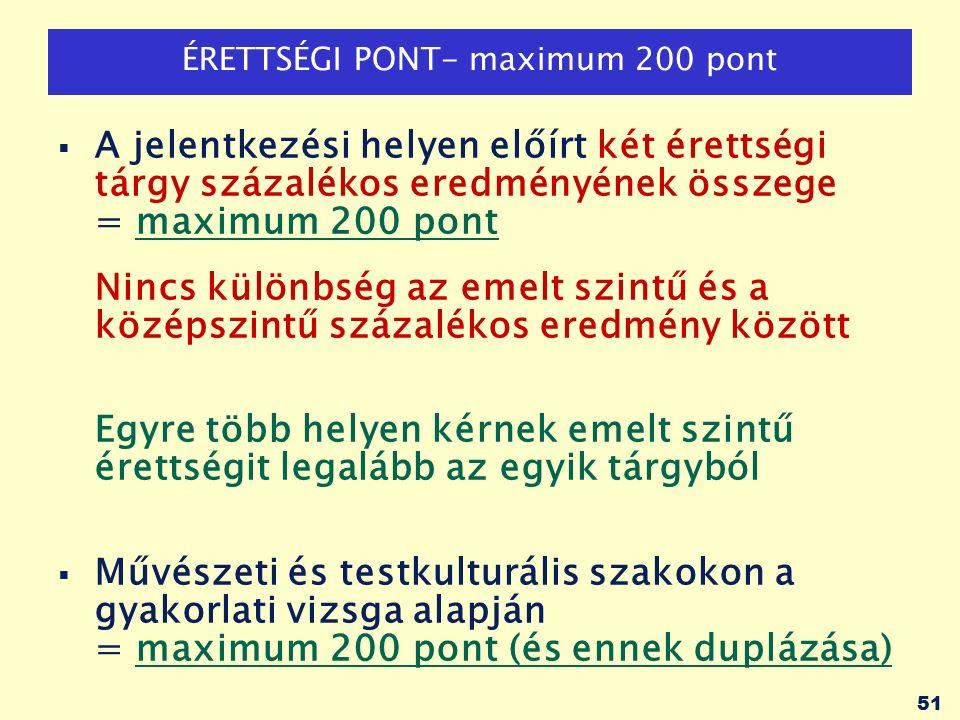 52 TÖBBLETPONTOK: maximum 100 pont KÖTELEZŐ többletpontok (minden területen)  Emelt szintű érettségiért: tárgyanként 50 pont -Csak azért az emelt szintű vizsgáért jár többletpont, amelyből a pályázó érettségi pontjait számítják.