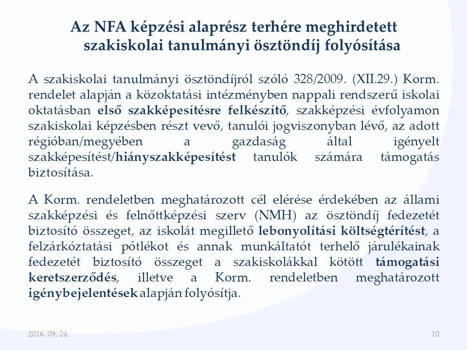 Az NFA képzési alaprész terhére meghirdetett szakiskolai tanulmányi ösztöndíj folyósítása A szakiskolai tanulmányi ösztöndíjról szóló 328/2009.