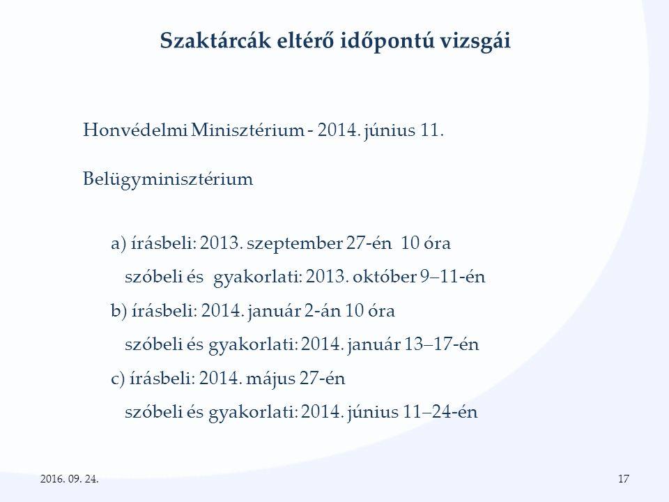 Szaktárcák eltérő időpontú vizsgái Honvédelmi Minisztérium - 2014.