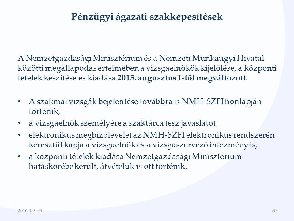 Pénzügyi ágazati szakképesítések A Nemzetgazdasági Minisztérium és a Nemzeti Munkaügyi Hivatal közötti megállapodás értelmében a vizsgaelnökök kijelölése, a központi tételek készítése és kiadása 2013.