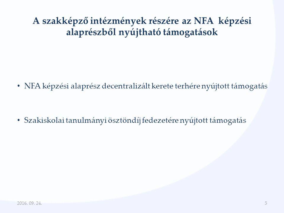 NFA képzési alaprész 2013.évi decentralizált keretéből nyújtható támogatás I 2016.