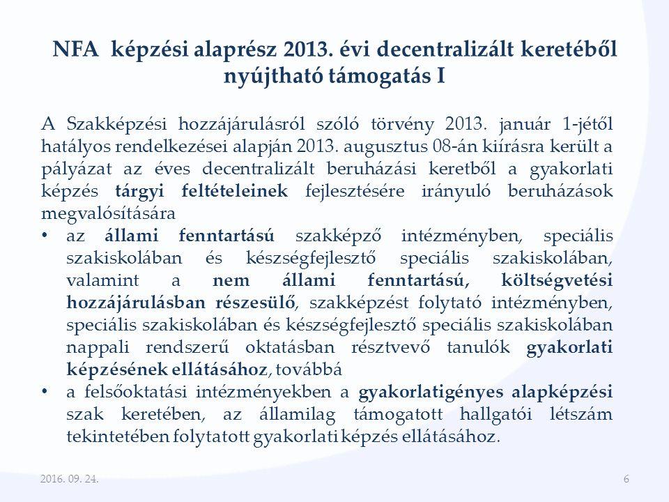 NFA képzési alaprész 2013.évi decentralizált keretéből nyújtható támogatás II.