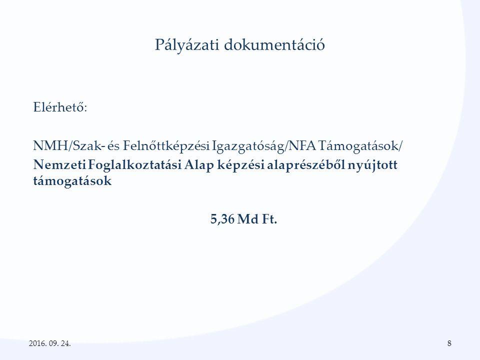Pályázati dokumentáció Elérhető: NMH/Szak- és Felnőttképzési Igazgatóság/NFA Támogatások/ Nemzeti Foglalkoztatási Alap képzési alaprészéből nyújtott támogatások 5,36 Md Ft.