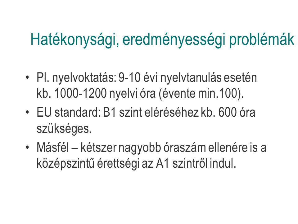 Hatékonysági, eredményességi problémák Pl. nyelvoktatás: 9-10 évi nyelvtanulás esetén kb.