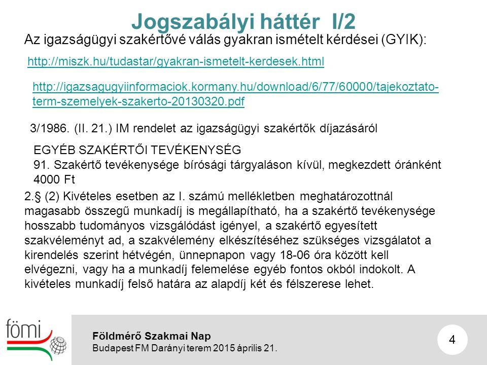 5 Jogszabályi háttér I/3 A helymeghatározásra vonatkozó szakmai szabályzók: 1.A földmérési és térképészeti tevékenységről szóló 2012.
