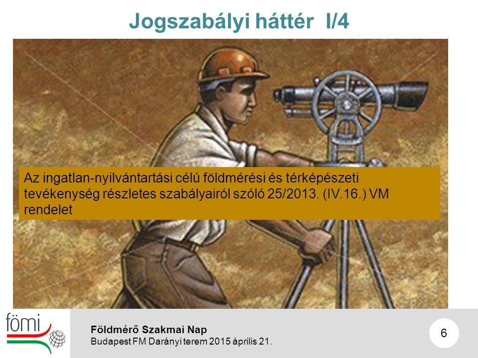 6 Jogszabályi háttér I/4 Az ingatlan-nyilvántartási célú földmérési és térképészeti tevékenység részletes szabályairól szóló 25/2013.