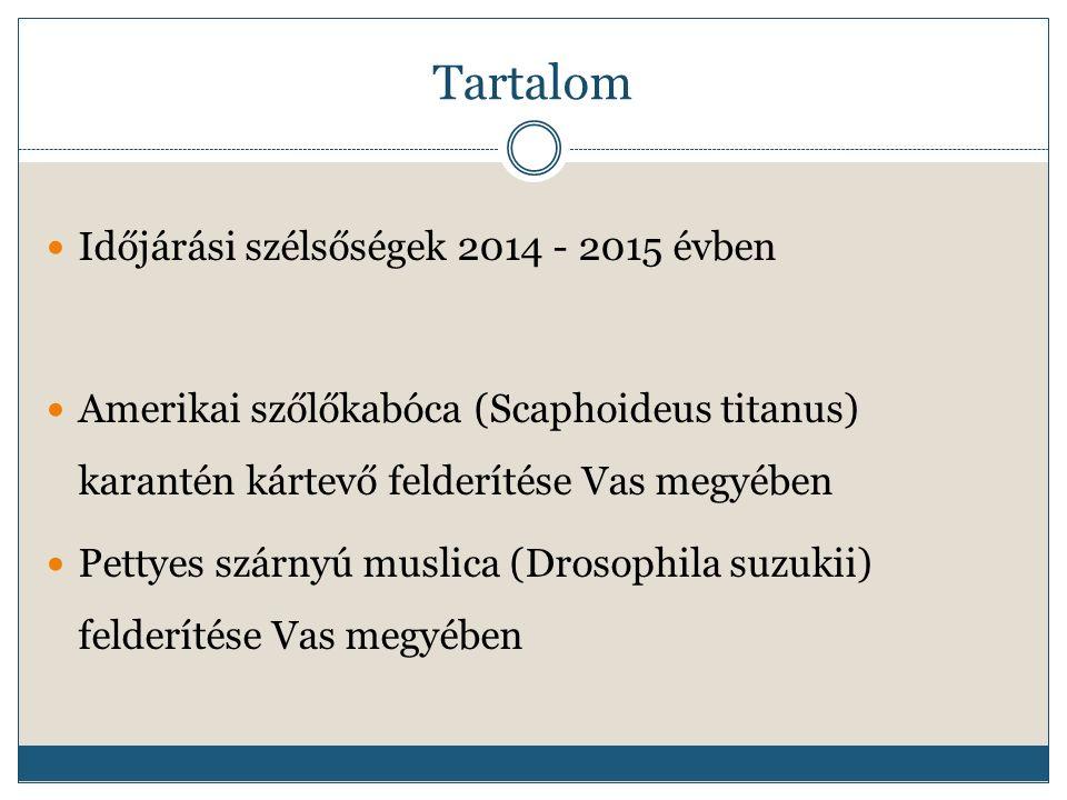 Tartalom Időjárási szélsőségek 2014 - 2015 évben Amerikai szőlőkabóca (Scaphoideus titanus) karantén kártevő felderítése Vas megyében Pettyes szárnyú muslica (Drosophila suzukii) felderítése Vas megyében