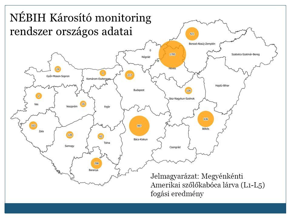 NÉBIH Károsító monitoring rendszer országos adatai Jelmagyarázat: Megyénkénti Amerikai szőlőkabóca lárva (L1-L5) fogási eredmény