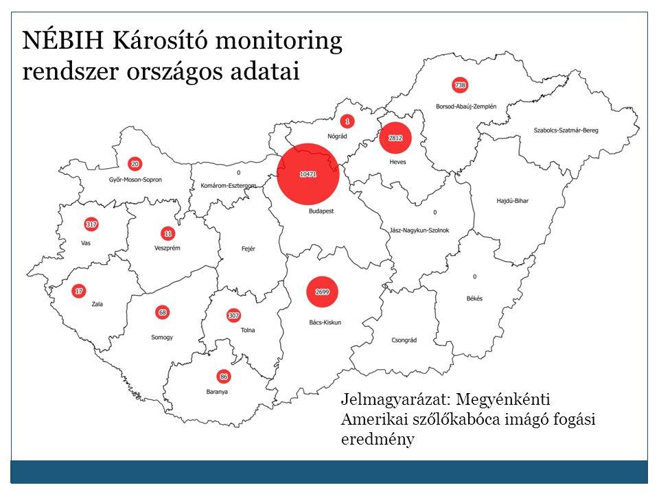 NÉBIH Károsító monitoring rendszer országos adatai Jelmagyarázat: Megyénkénti Amerikai szőlőkabóca imágó fogási eredmény