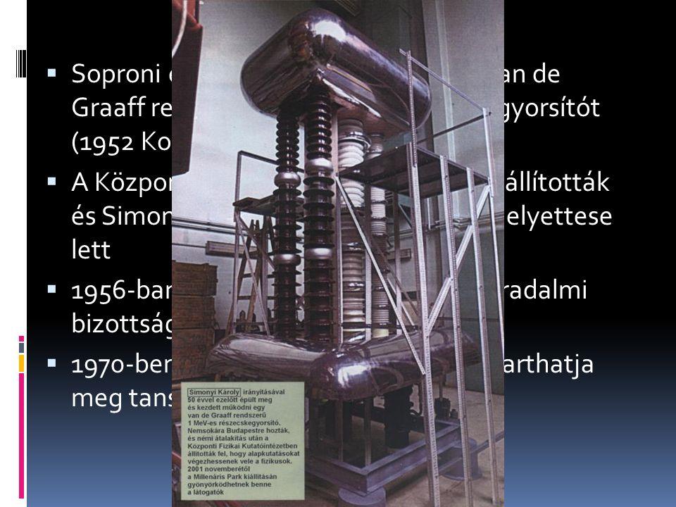  Soproni egyetemen tervezte meg a van de Graaff rendszerű 1 MeV-es részecskegyorsítót (1952 Kossuth-díj)  A Központi Fizikai Kutatóintézetbe szállít