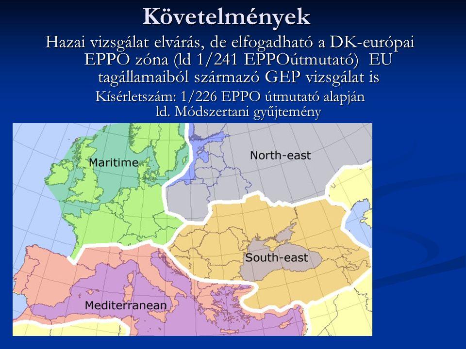 Követelmények Hazai vizsgálat elvárás, de elfogadható a DK-európai EPPO zóna (ld 1/241 EPPOútmutató) EU tagállamaiból származó GEP vizsgálat is Kísérletszám: 1/226 EPPO útmutató alapján ld.