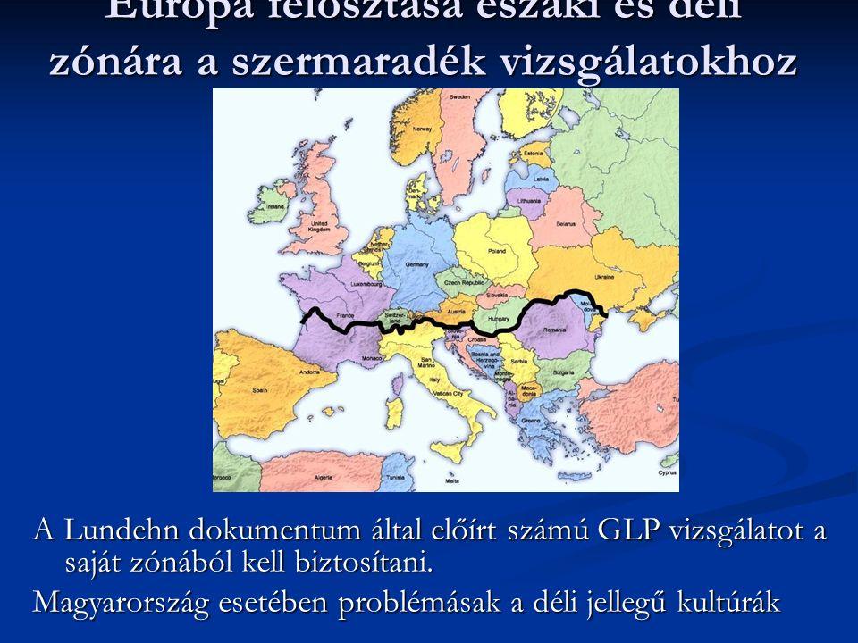 Európa felosztása északi és déli zónára a szermaradék vizsgálatokhoz A Lundehn dokumentum által előírt számú GLP vizsgálatot a saját zónából kell bizt