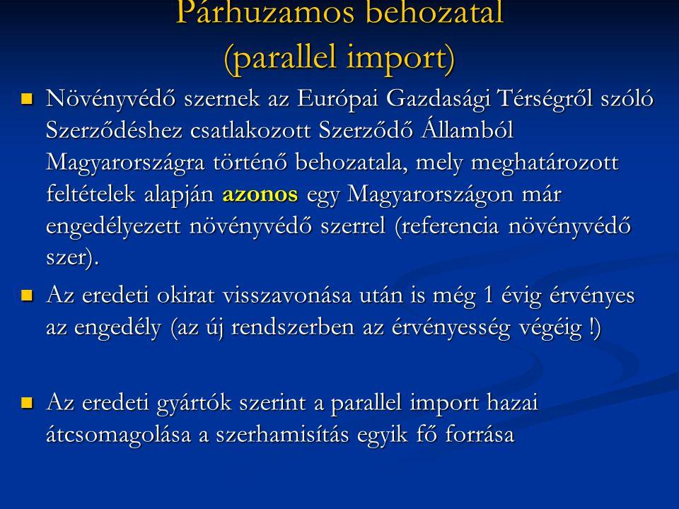 Párhuzamos behozatal (parallel import) Növényvédő szernek az Európai Gazdasági Térségről szóló Szerződéshez csatlakozott Szerződő Államból Magyarorszá