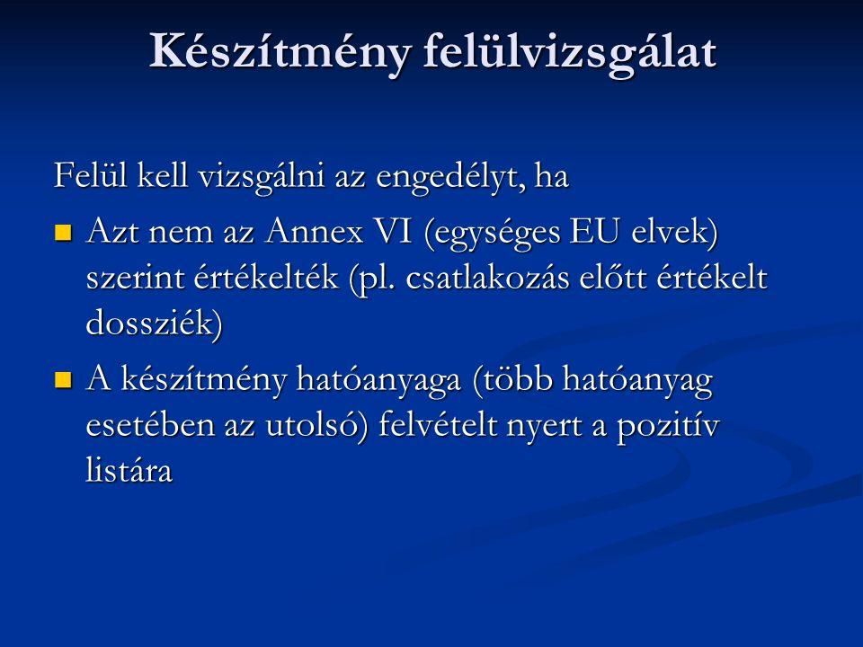 Készítmény felülvizsgálat Felül kell vizsgálni az engedélyt, ha Azt nem az Annex VI (egységes EU elvek) szerint értékelték (pl. csatlakozás előtt érté