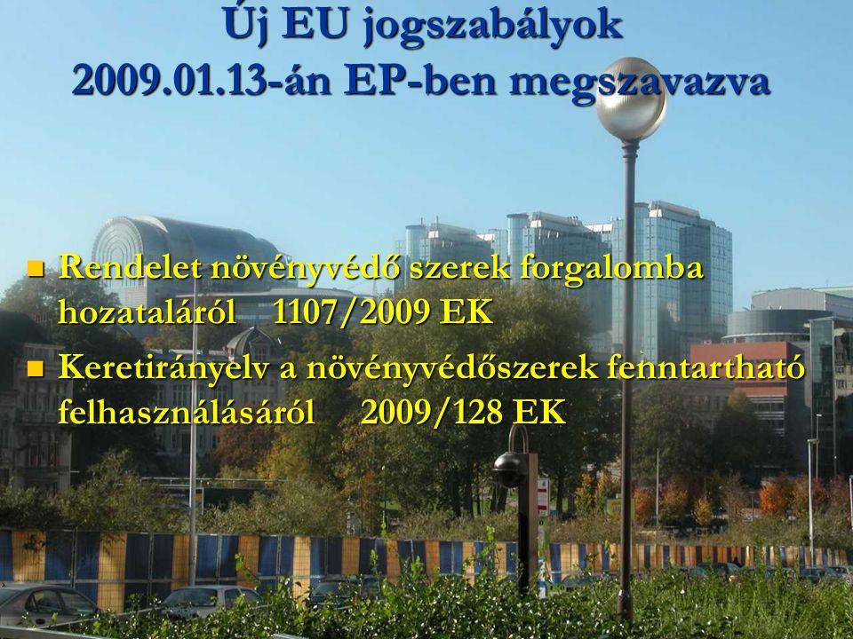 Rendelet növényvédő szerek forgalomba hozataláról 1107/2009 EK Rendelet növényvédő szerek forgalomba hozataláról 1107/2009 EK Keretirányelv a növényvédőszerek fenntartható felhasználásáról 2009/128 EK Keretirányelv a növényvédőszerek fenntartható felhasználásáról 2009/128 EK Új EU jogszabályok 2009.01.13-án EP-ben megszavazva