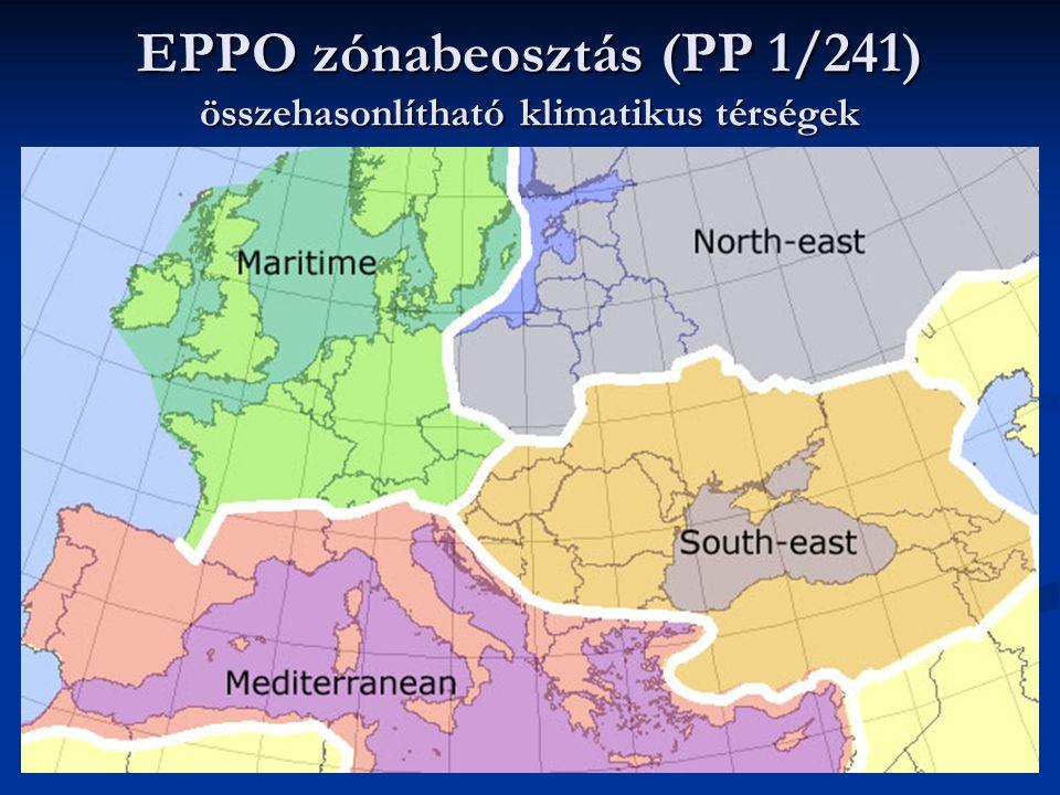 EPPO zónabeosztás (PP 1/241) összehasonlítható klimatikus térségek