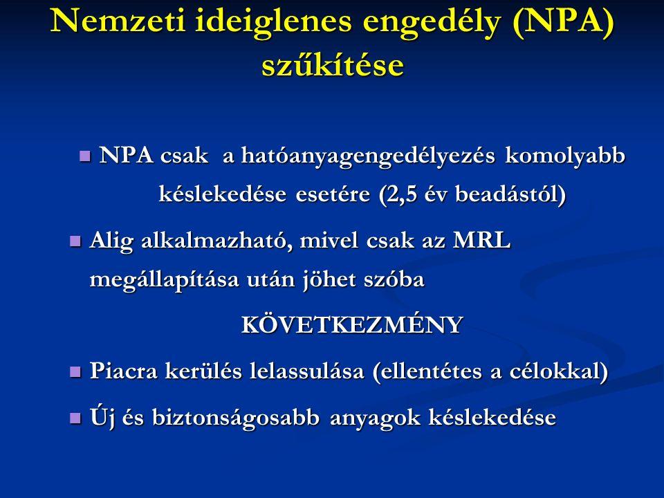 Nemzeti ideiglenes engedély (NPA) szűkítése NPA csak a hatóanyagengedélyezés komolyabb késlekedése esetére (2,5 év beadástól) NPA csak a hatóanyagengedélyezés komolyabb késlekedése esetére (2,5 év beadástól) Alig alkalmazható, mivel csak az MRL megállapítása után jöhet szóba Alig alkalmazható, mivel csak az MRL megállapítása után jöhet szóbaKÖVETKEZMÉNY Piacra kerülés lelassulása (ellentétes a célokkal) Piacra kerülés lelassulása (ellentétes a célokkal) Új és biztonságosabb anyagok késlekedése Új és biztonságosabb anyagok késlekedése
