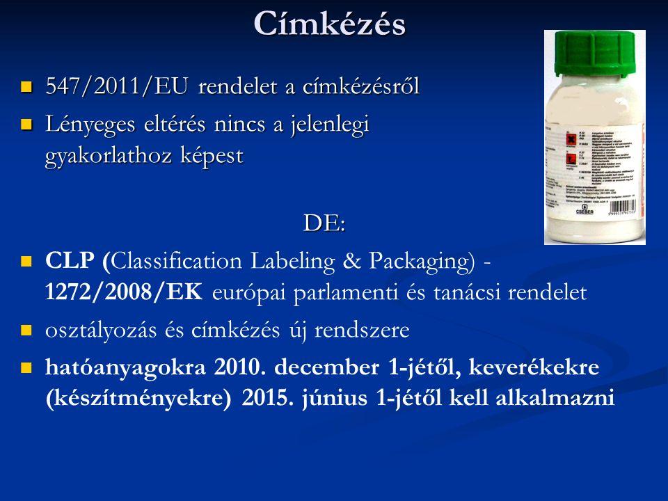 Címkézés 547/2011/EU rendelet a címkézésről 547/2011/EU rendelet a címkézésről Lényeges eltérés nincs a jelenlegi gyakorlathoz képest Lényeges eltérés nincs a jelenlegi gyakorlathoz képestDE: CLP (Classification Labeling & Packaging) - 1272/2008/EK európai parlamenti és tanácsi rendelet osztályozás és címkézés új rendszere hatóanyagokra 2010.